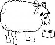 mouton qui mange dessin à colorier
