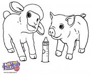 bebe mouton et bebe cochon animaux de la ferme dessin à colorier