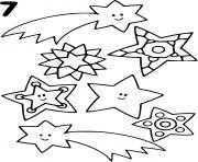 etoiles filantes facile maternelle dessin à colorier