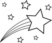 etoile filante dans le ciel dessin à colorier
