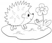 adorable herisson dans la nature maternelle dessin à colorier