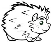 herisson avec de beaux yeux animal mignon dessin à colorier
