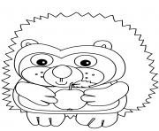 herisson maternelle mange une pomme dessin à colorier