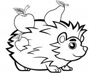 joli herisson avec des fruits animal de compagnie dessin à colorier