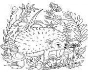 herisson dans la savane par Lesya Adamchuk dessin à colorier