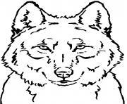 loup face tete portrait dessin à colorier