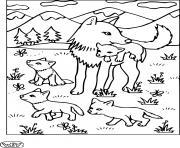 maman louve et ses louveteaux dessin à colorier
