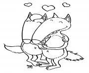 deux loups amoureux dessin à colorier