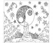 loup mandala adulte lune et foret dessin à colorier