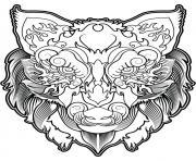 tete de loup mandala dessin à colorier