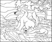 loup et son bebe loup dans la foret dessin à colorier