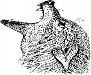 tete de loup mandala avec beaucoup de details dessin à colorier