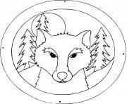 portrait de loup dans la foret durant la nuit dessin à colorier