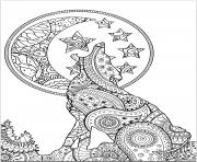 loup mandala zentangle lune dessin à colorier