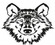 tete de loup gris dessin à colorier