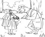 loup et le petit chaperon rouge dessin à colorier