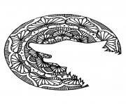 loup mandala lune dessin à colorier