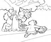 petit chaperon rouge et un loup derriere un arbre dessin à colorier