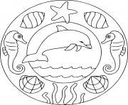 dauphin mandala facile maternelle ps dessin à colorier