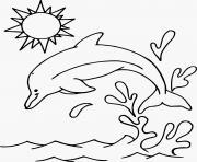 dauphin saut hors de la mer soleil dessin à colorier