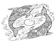 dauphin mandala adulte relax dessin à colorier