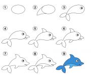 apprendre comment dessiner dauphin dessin à colorier