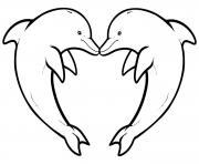 dauphin coeur dessin à colorier