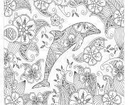 dauphin mandala zen adulte dessin à colorier