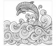 dauphin mandala dessin à colorier