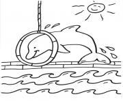 dauphin saut dans un cerceau dessin à colorier