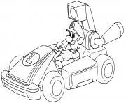 luigi se prepare pour la course de voiture dessin à colorier
