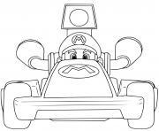 super mario bros kart voiture rapide dessin à colorier