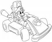 mario kart deluxe voiture de course dessin à colorier