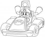 coloriage mario remporte la premiere position mario kart