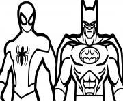 batman et spiderman superheros dessin à colorier