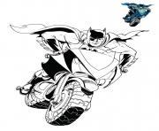 moto homme chauve souris dc comics dessin à colorier