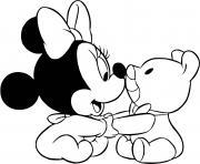 minnie mouse bebe et son nounours dessin à colorier