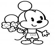mickey mouse bebe avec des fleurs dessin à colorier