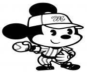 mickey mouse joue au baseball dessin à colorier