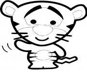 tigrou bebe te salut dessin à colorier