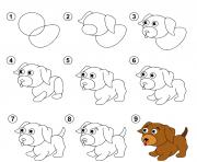 etape par etape dessin tutoriel enfants comment dessiner un petit chiot dessin à colorier