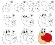 coloriage dessin facile un escargot snail animal
