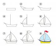 coloriage apprendre dessiner bateau dessin facile
