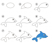 coloriage apprendre dessiner facile dauphin