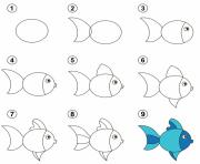 coloriage dessiner un poisson dessin facile