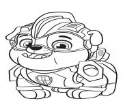 Paw Patrol Mighty Pups Rubble dessin à colorier