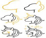 tuto comment dessiner licorne kawaii simple tete de licorne aux contours noirs avec etoiles nuages dessin à colorier