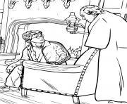 harry et cornelius fudge du ministere de la magie dessin à colorier
