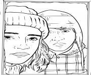 hermione et ron avec le froid hiver dessin à colorier