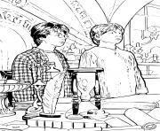 harry et ron cours sur la magie dessin à colorier